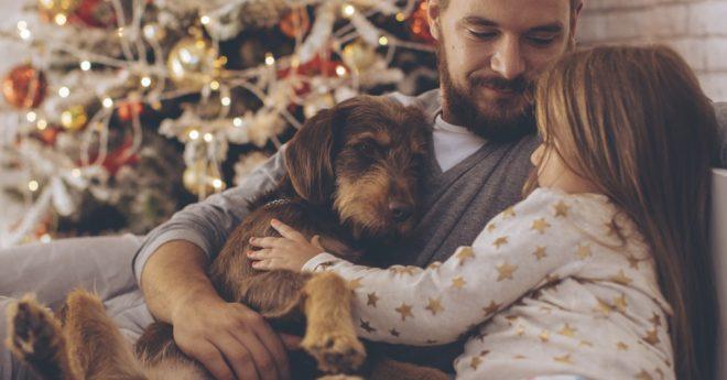 julmys med pappa, dotter och hund med julgran i bakgrunden