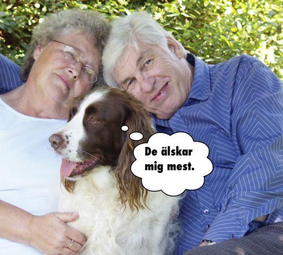 """Par med hund mellan sig. Hunden tänker """"De älskar mig mest"""""""