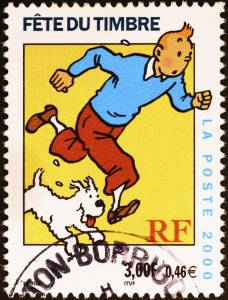 Seriefiguren Tintin och hunden Milou