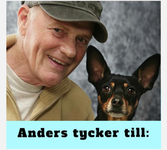 """Anders Hallgren och hans hund """"Anders tycker till"""""""