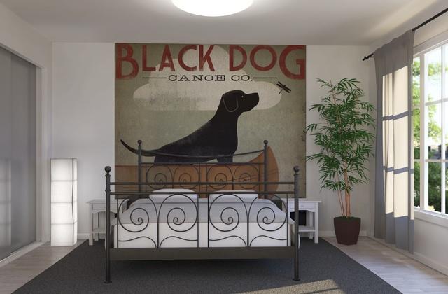fototapet, svart hund