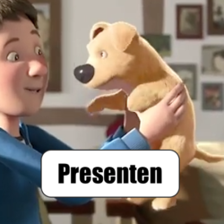 animerad film, pojke med trebent hund