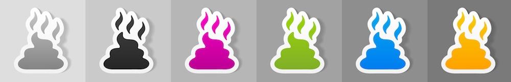 bajshögar i olika färg