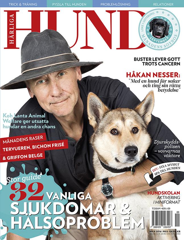 Omslag till Härliga Hund nr 9 med Håkan Nesser på omslaget