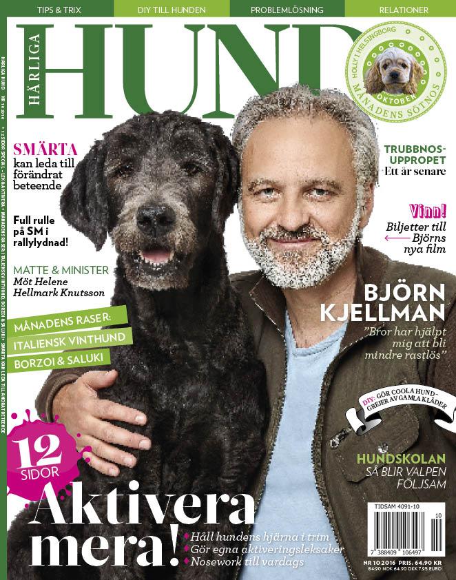 Omslaget på Härliga Hund nr 10 2016 med Björn Kjellman och hunden Bror