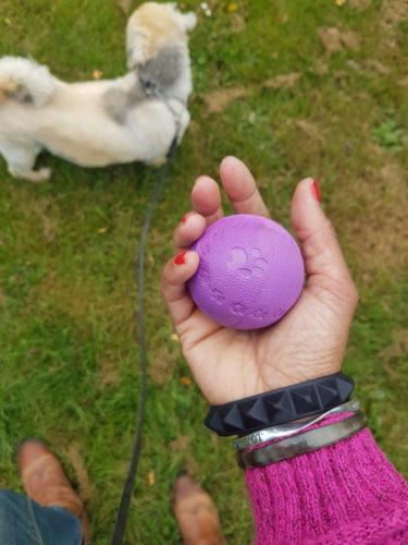 Carros hand som håller i en lila boll strax oanför Krutors huvud