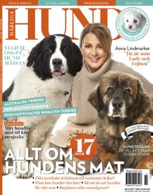 Omslag till Härliga Hund nr 2 2017, med Anna Lindmarker och hennes två hundar